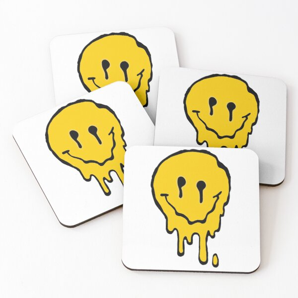 Melted Smiley Face Coasters (Set of 4)