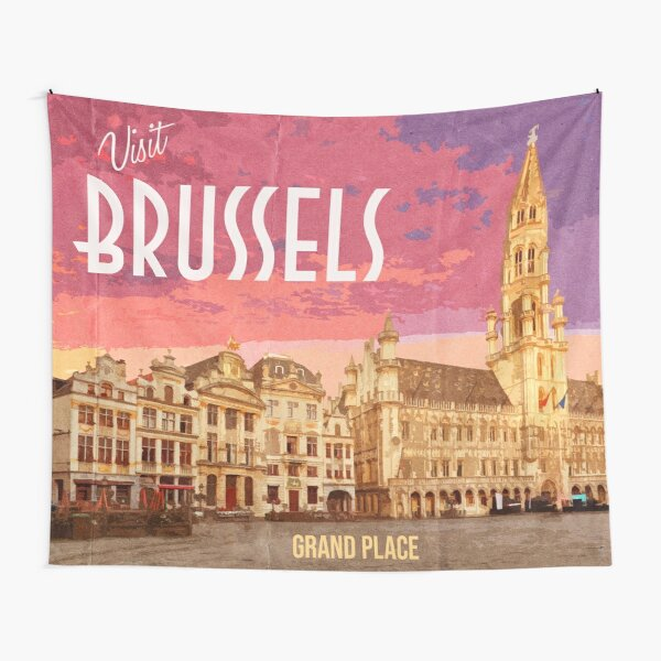 Vintage Looking Grand Place Brussels Tapestry