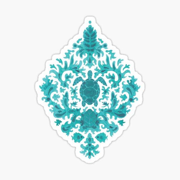 Victorian inspired pattern with turtles (blue version) Sticker