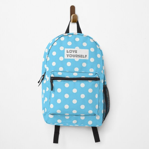 Love Yourself Blue White Polka Dots Backpack