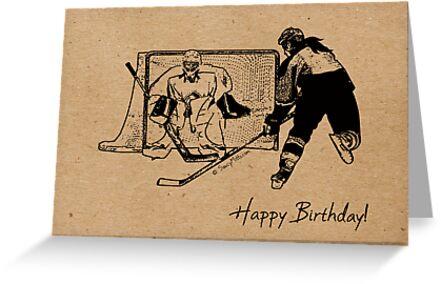 Shot on Net Hockey Birthday Card Female Greeting Cards by – Hockey Birthday Card