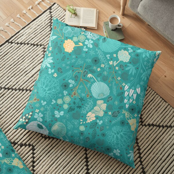 Field of Flowers in Blue, White and Yellow Floor Pillow