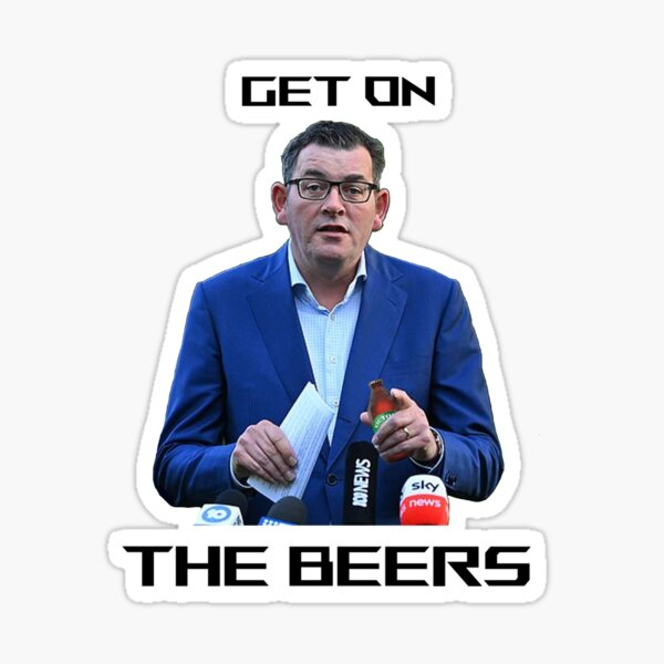 """""""Get on the beers""""  Sticker"""