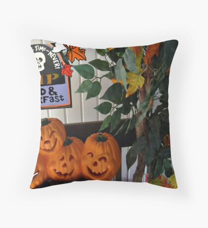 Happy Pumpkins On My Porch Throw Pillow