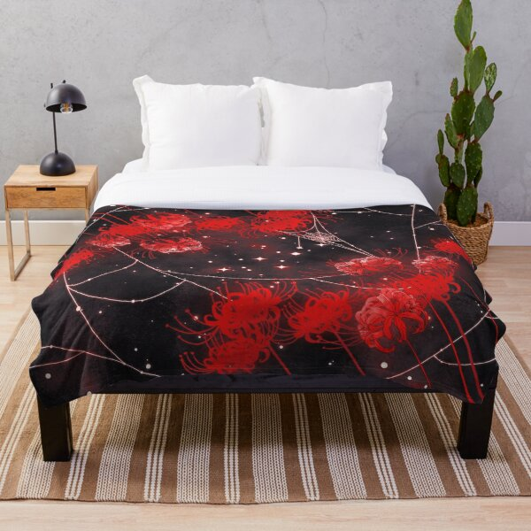 Galaxy Red Spider Lilies and Webs Throw Blanket