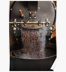 Coffee roaster pouring beans Poster
