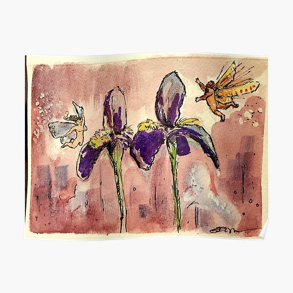 Fairies in the Iris Garden Poster