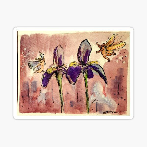 Fairies in the Iris Garden Sticker