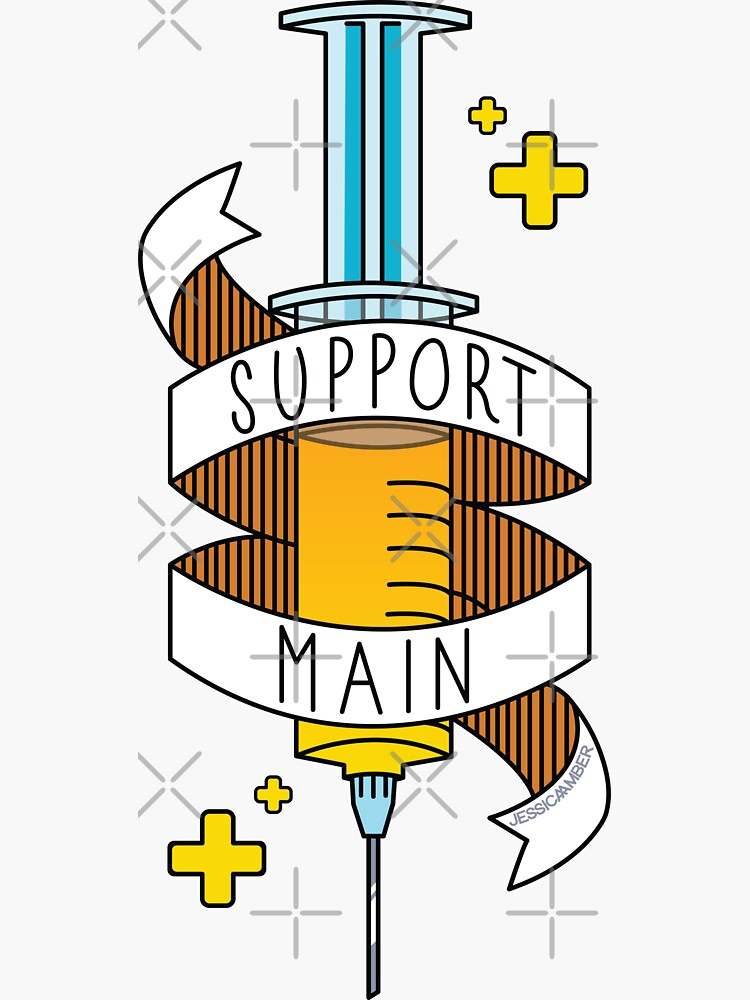 Support Main | Gamer Art FPS RPG | Doctor Syringe and Banner | Yellow Blue by JessicaAmber