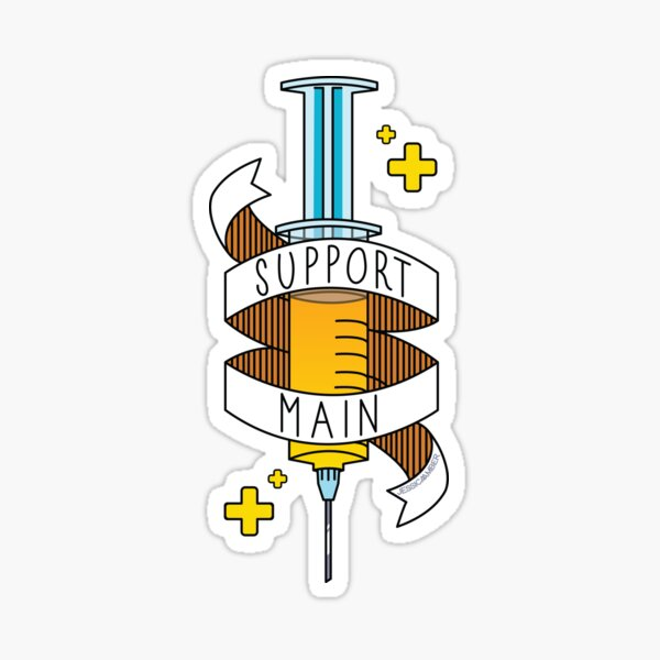 Support Main | Gamer Art FPS RPG | Doctor Syringe and Banner | Yellow Blue Sticker