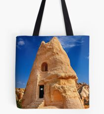 The peculiar church of El Nazar in Cappadocia Tote Bag