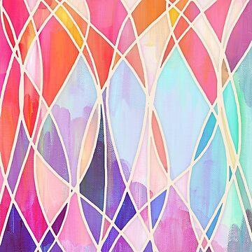 Purple & Peach Love - abstrakte Malerei in Regenbogen-Pastellen von micklyn