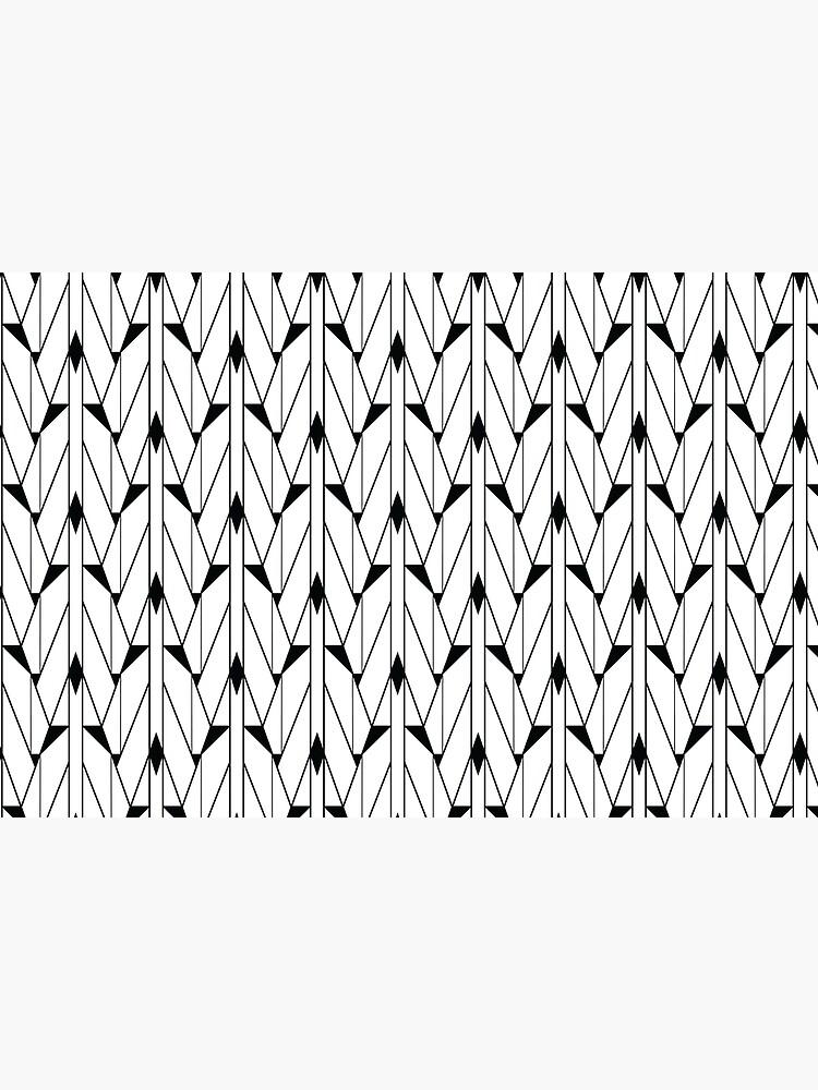 Black and White Retro Vintage Art Deco Geometric Open Triangle Pattern  by podartist