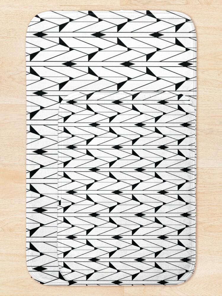 Alternate view of Black and White Retro Vintage Art Deco Geometric Open Triangle Pattern  Bath Mat
