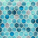 Blue Ink - Watercolor hexagon pattern by micklyn
