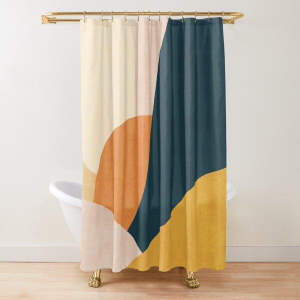 Colorful mid century sunset  Shower Curtain