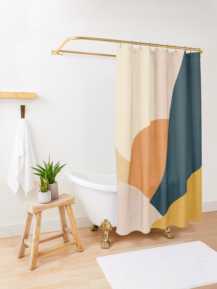 Alternate view of Colorful mid century sunset  Shower Curtain