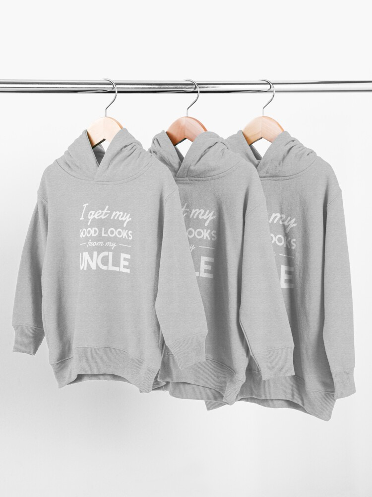 Alternate view of I get my good lucks from my uncle Toddler Pullover Hoodie