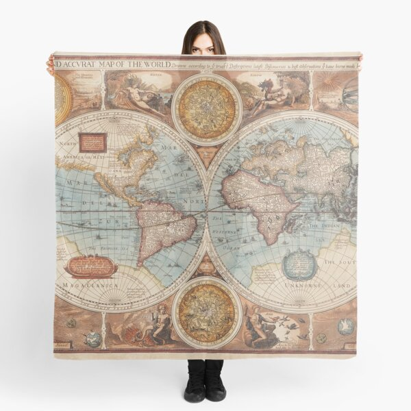 Vintage World Map  Scarf