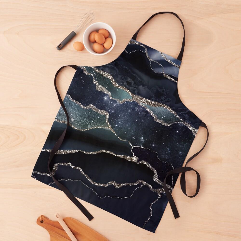 Glamour Night Black Milky Way Marble Galaxy I Apron