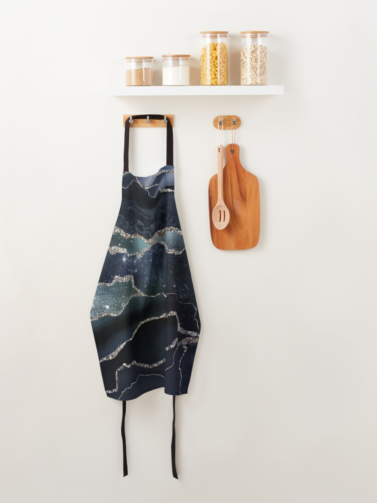 Alternate view of Glamour Night Black Milky Way Marble Galaxy I Apron