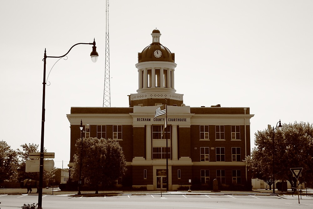Route 66 - Beckham County Courthouse by Frank Romeo