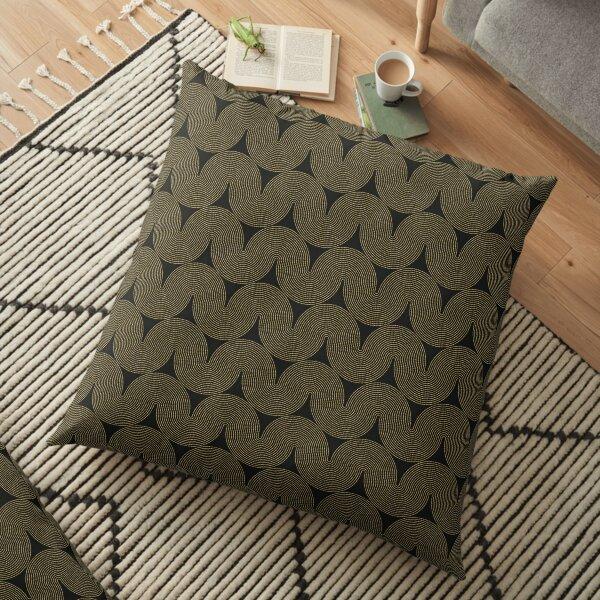 Gold Swirls Design On Black Background Floor Pillow