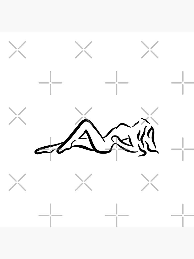 Sunbathing Lady Minimalist Line Drawing by RyanDraws