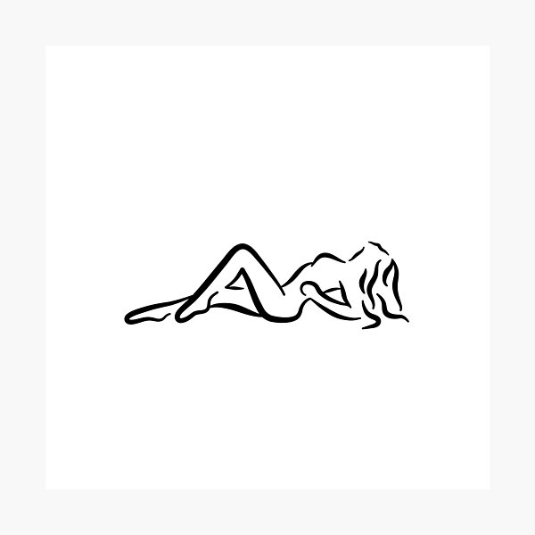 Sunbathing Lady Minimalist Line Drawing Photographic Print