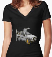 Back to the future Black edition Women's Fitted V-Neck T-Shirt