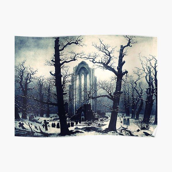 Monastery Graveyard under Snow by Caspar David Friedrich Poster
