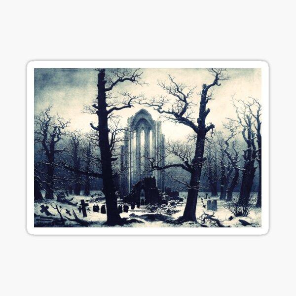 Monastery Graveyard under Snow by Caspar David Friedrich Sticker