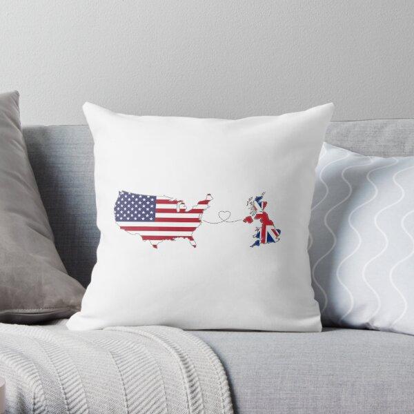 USA - UK   Long Distance Love Throw Pillow