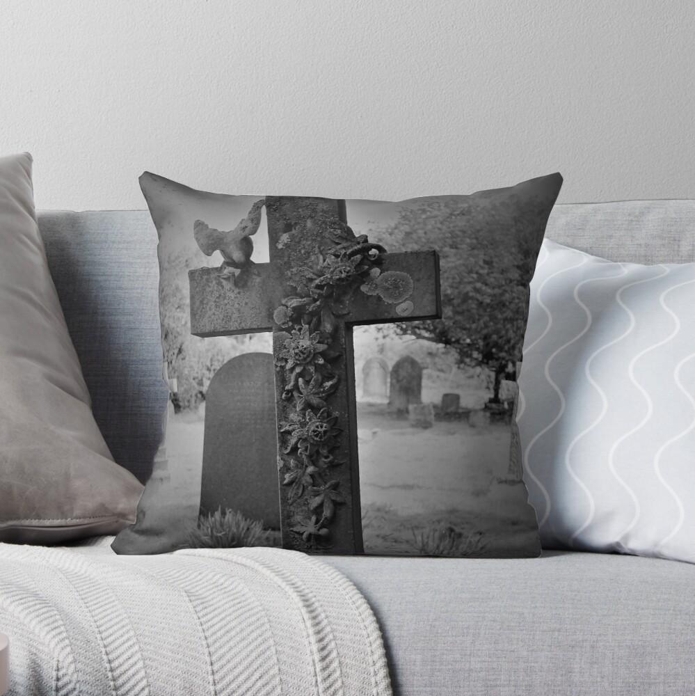 Cross Gravestone in Churchyard Throw Pillow