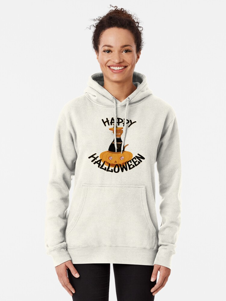 Alternate view of Happy Halloween Oliver! Pullover Hoodie