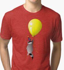 Clown Raccoon with Balloon Tri-blend T-Shirt