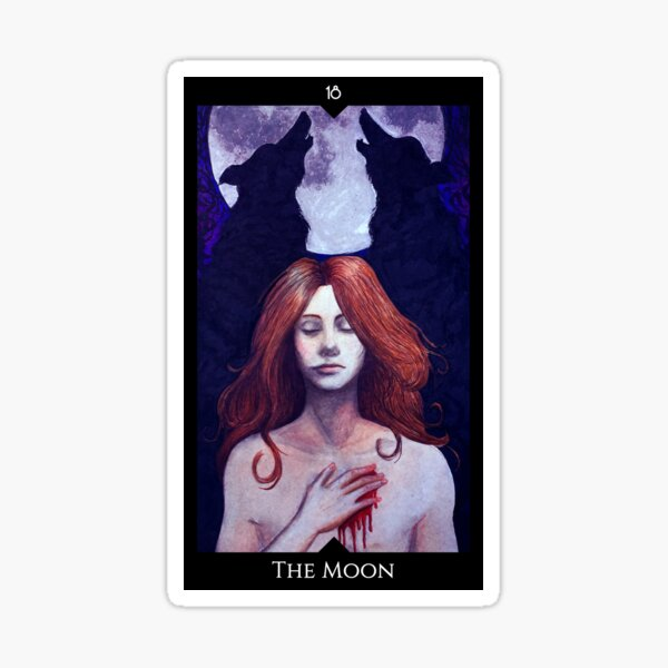 Tarot card: The Moon Sticker