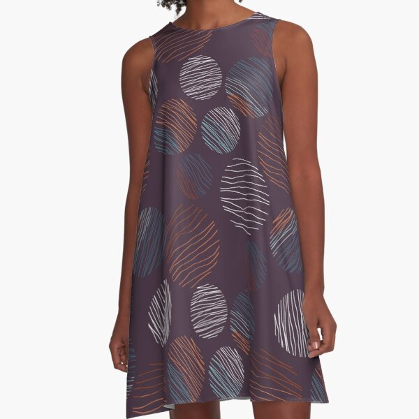 Line Circles | Dark Plum | Pattern A-Line Dress