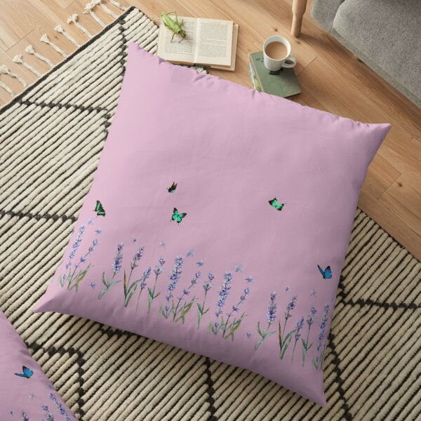 Watercolor Lavender And Butterflies Floor Pillow