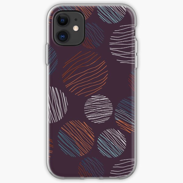 Line Circles | Dark Plum | Pattern iPhone Soft Case