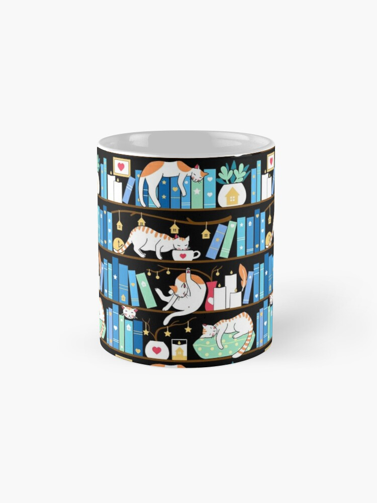 Alternate view of Library cats - turquoise morning Mug