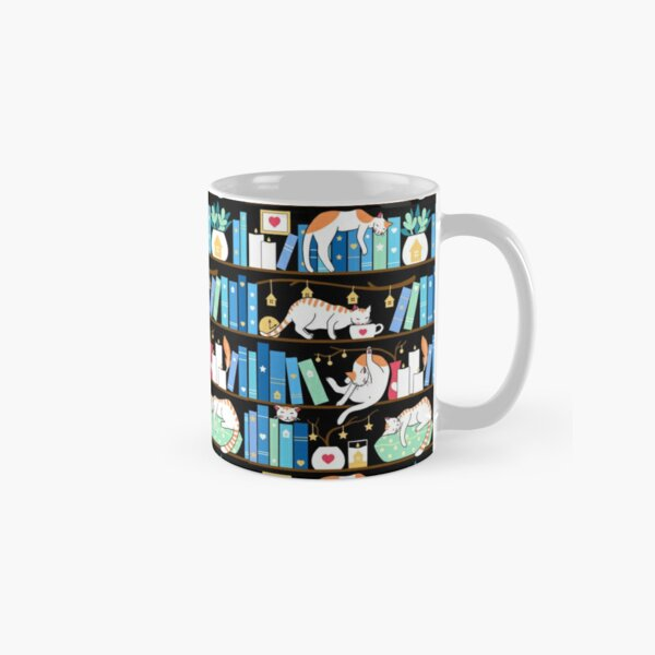 Library cats - turquoise morning Classic Mug