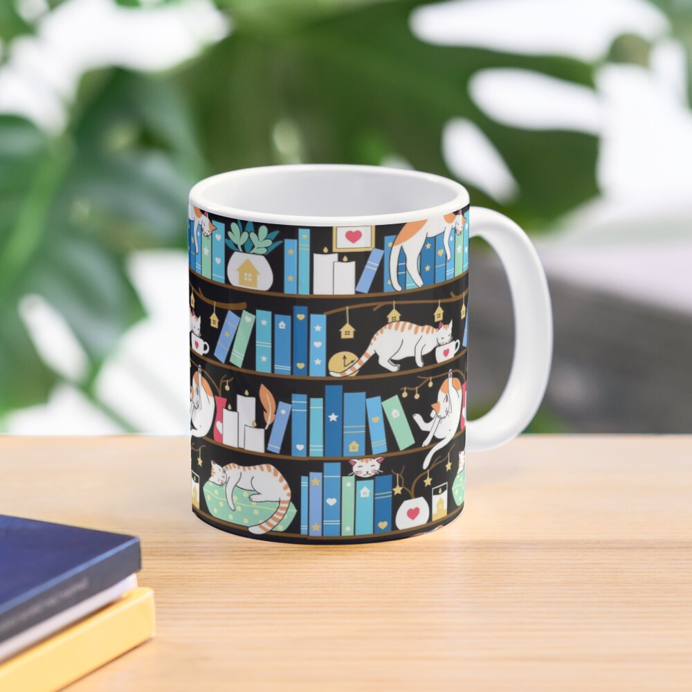 Library cats - turquoise morning Mug