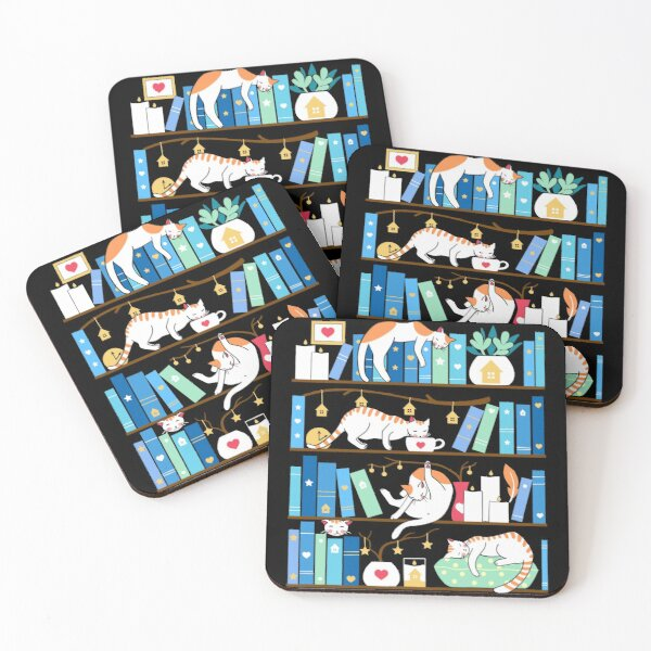 Library cats - turquoise morning Coasters (Set of 4)