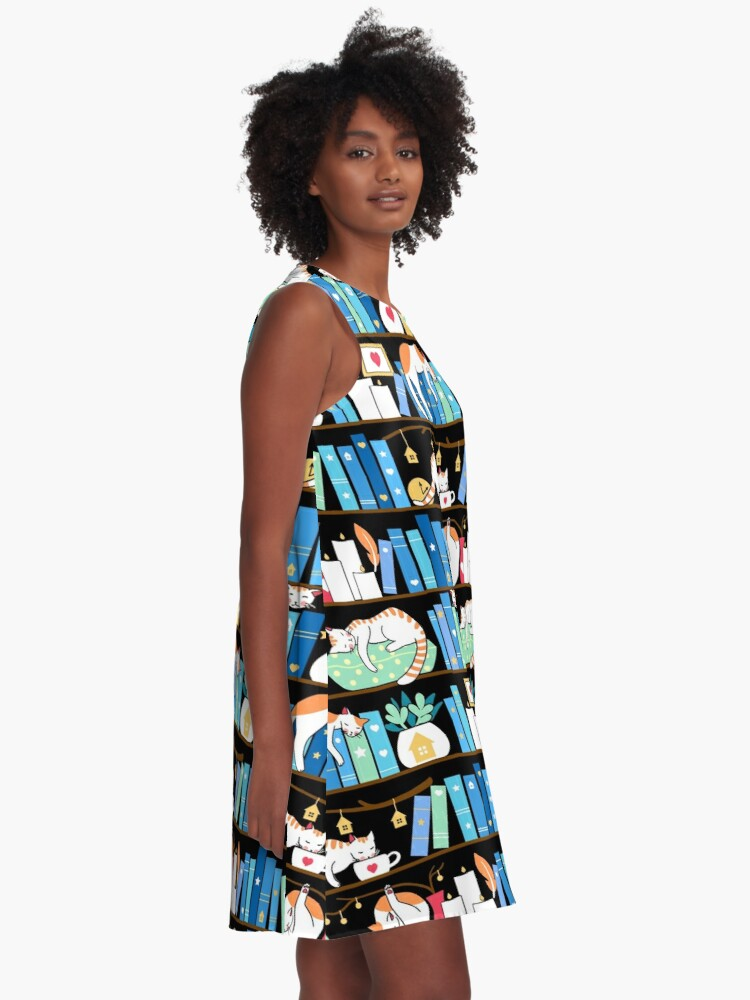 Alternate view of Library cats - turquoise morning A-Line Dress