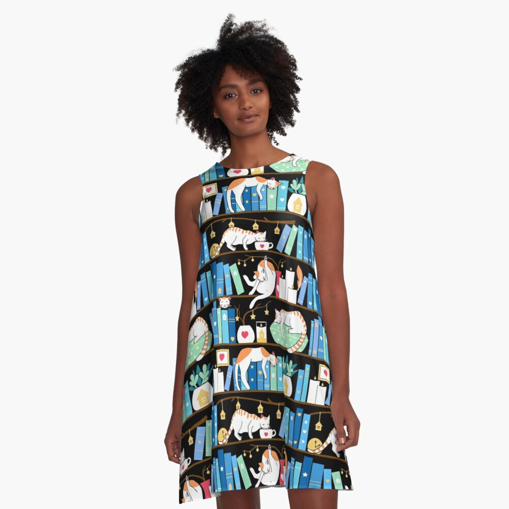 Library cats - turquoise morning A-Line Dress