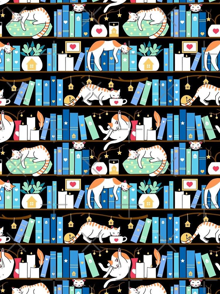 Library cats - turquoise morning by Elenanaylor