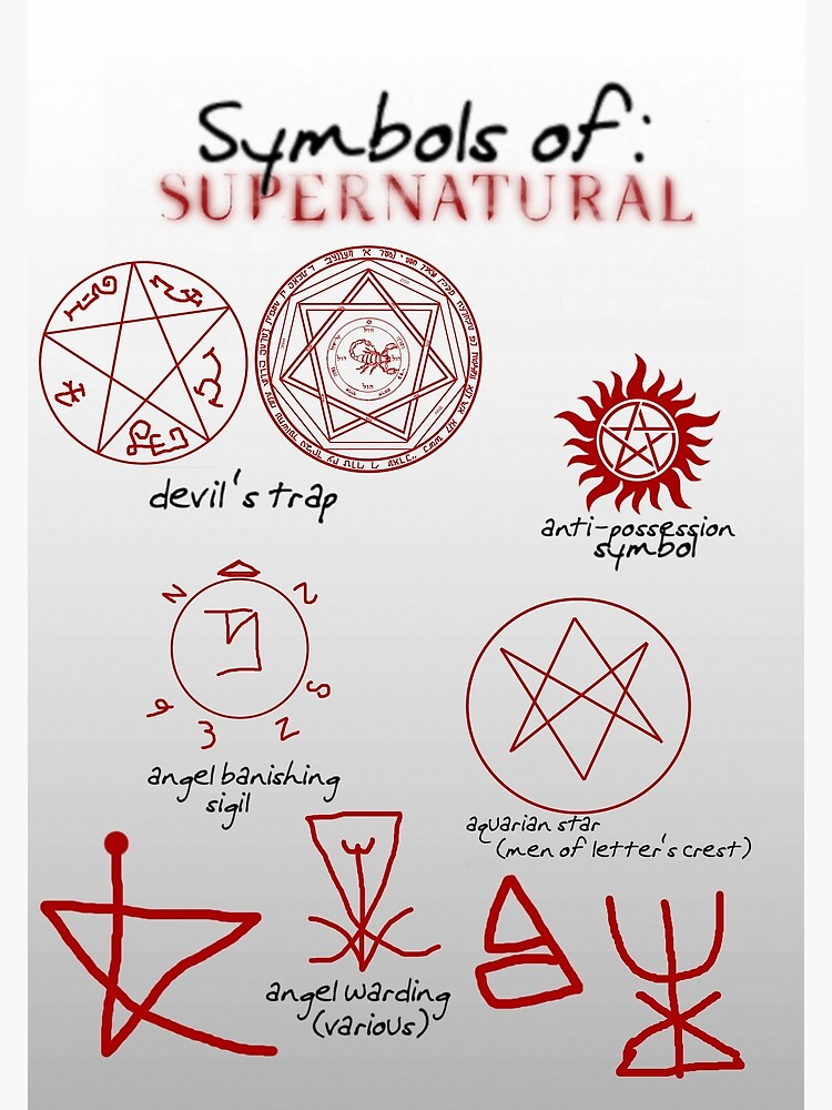 Supernatural Symbols 101 Poster By Cherylfails Redbubble