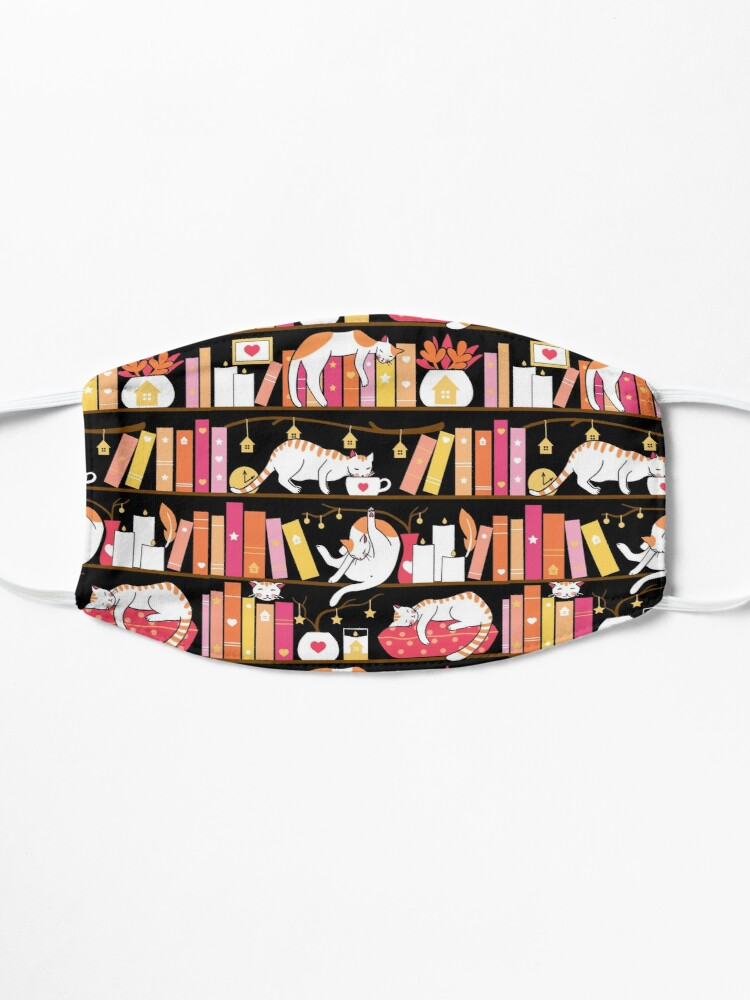 Alternate view of Library cats - rose pink Mask