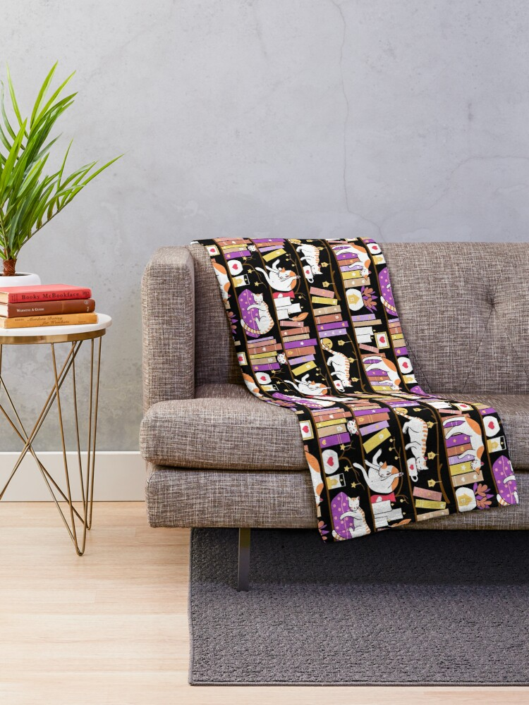 Alternate view of Library cats - dreamy violet Throw Blanket